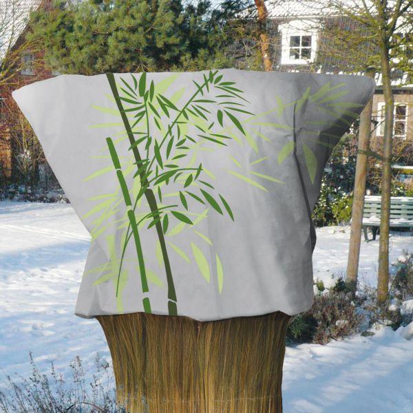 Maxi Vlieshaube Bambus, 180 x 120cm, grau/grün