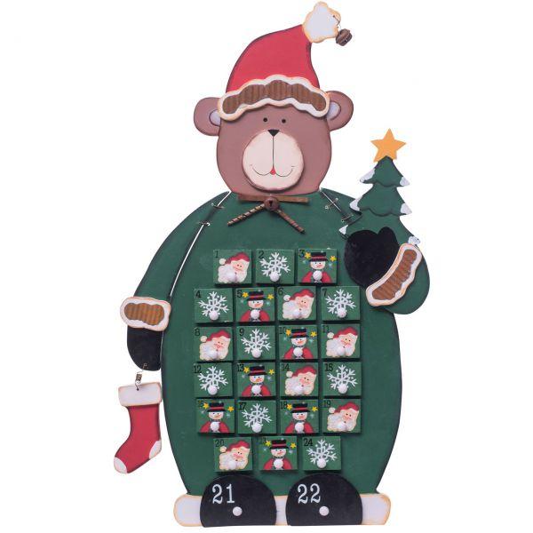 Adventskalender Bär, 24 Schubladen, Holz grün