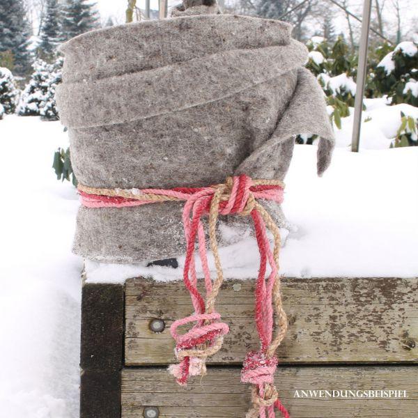 Schafwollmatte Frostschutz Pflanzen, grau-meliert