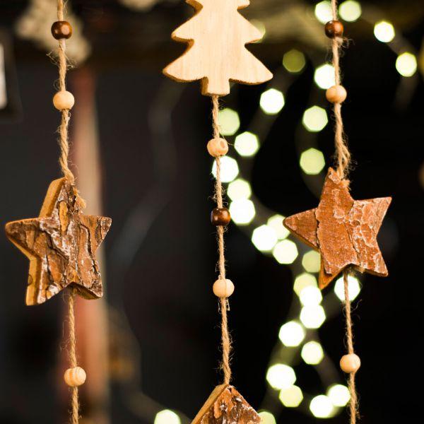 Winterdeko Holz-Girlande Sterne und Perlen natur