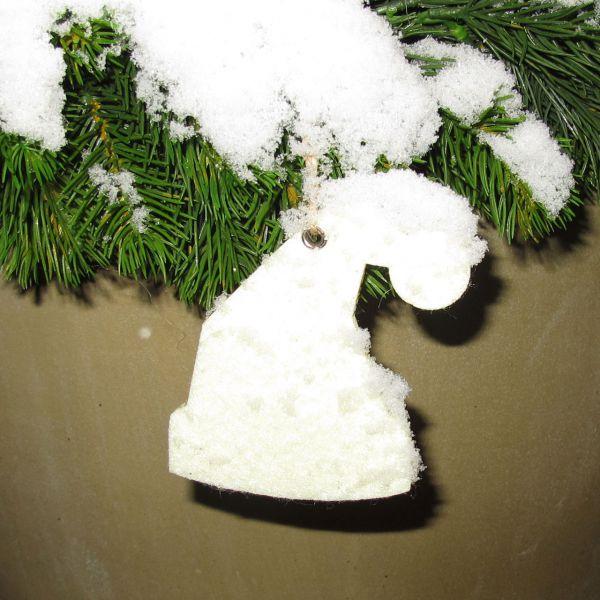 Dekoanhänger Filz Weihnachtsmütze wollweiss