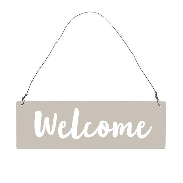 Metall-Schild Welcome, grau