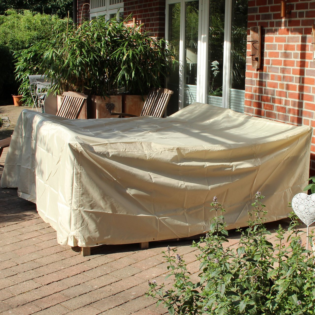 schutzh lle rechteckige tischgruppe abdeckung beige. Black Bedroom Furniture Sets. Home Design Ideas