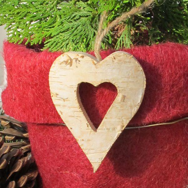 Birkenholz-Anhänger Herz natur