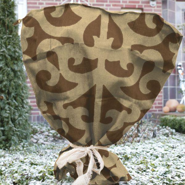 Jutesack als Winterschutz Ornament-Design braun-beige