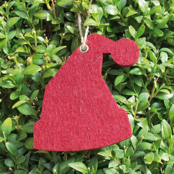 Dekoanhänger Filz Weihnachtsmütze rot