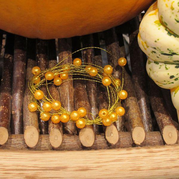 Basteldraht mit Perlen gold