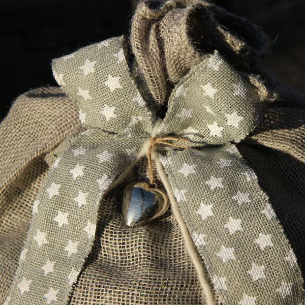 Winterschutz Deko-Juteband Sternchen, grau/weiß