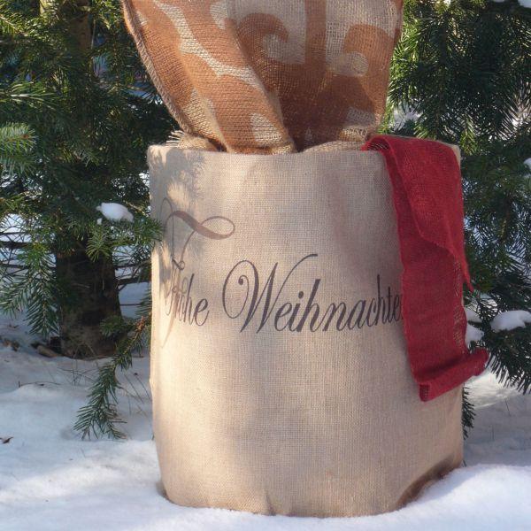 Jute-übertopf Kübelpflanzen Frohe Weihnachtenn natur