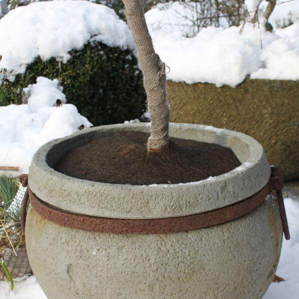 Winterschutz Topfabdeckung Jute-Filz-Isolierscheibe, braun