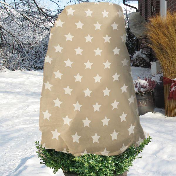 Winterschutz-Vlieshaube Sternchen, natur/weiß