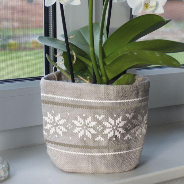 Jute-Übertopf Kübelpflanzen Norwegermuster, grau/weiß