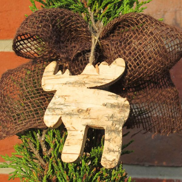 Holzanhänger Deko-Anhänger Holz Elch natur
