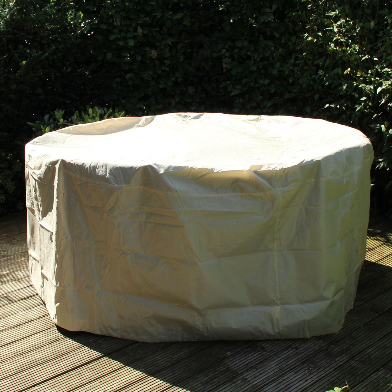 gartenm bel schutzh lle runde tischgruppe beige. Black Bedroom Furniture Sets. Home Design Ideas