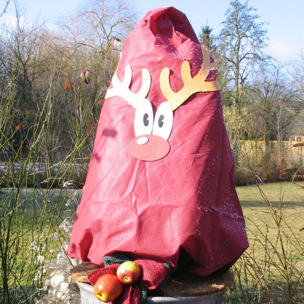 Vlieshaube Winterschutz Rentier Set rot