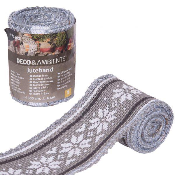 Winterschutz Deko-Juteband Norweger-Muster, grau/weiß