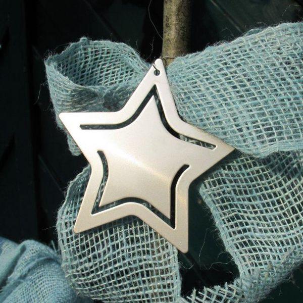 Metall-Anhänger Edelstahl Stern silber