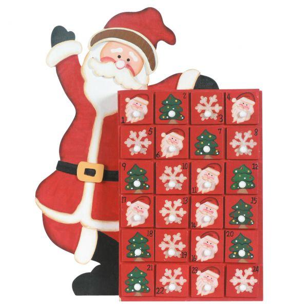 Adventskalender Weihnachtsmann, 24 Holz