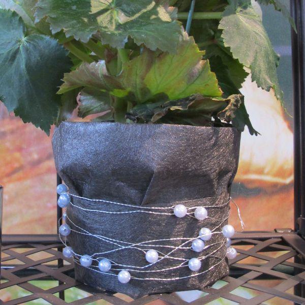 Basteldraht mit Perlen silber