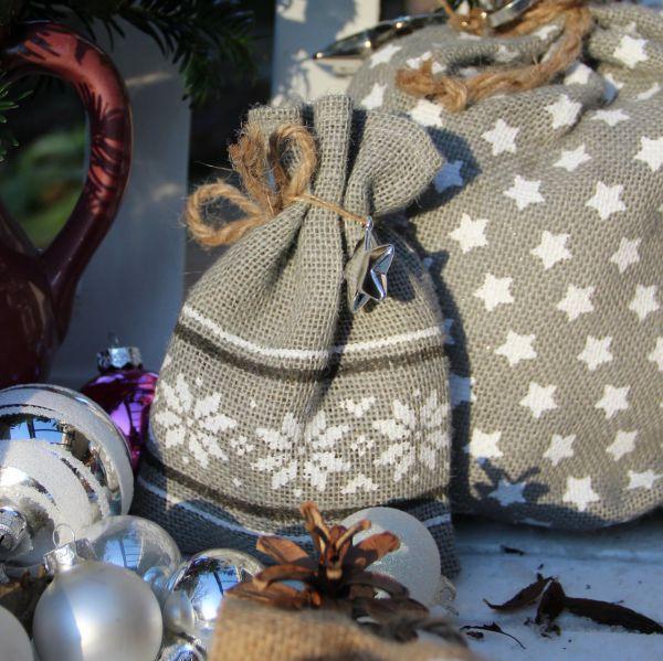 Geschenk-Jutesäckchen Norwegermuster, grau/weiß