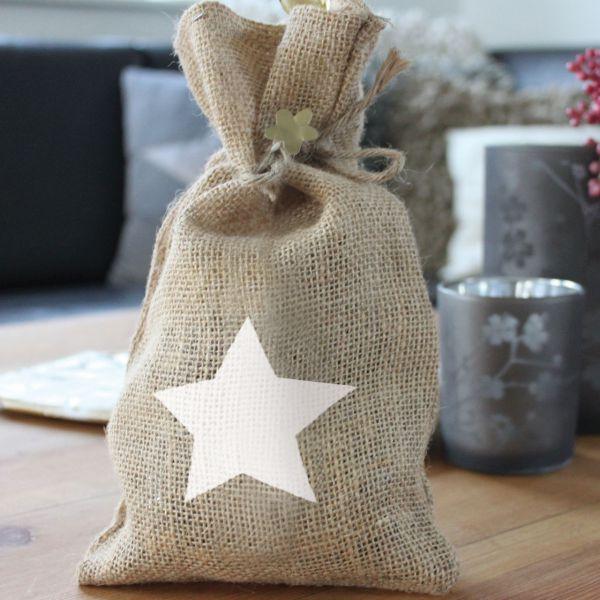 Geschenk-Jutesäckchen Stern, natur/weiß