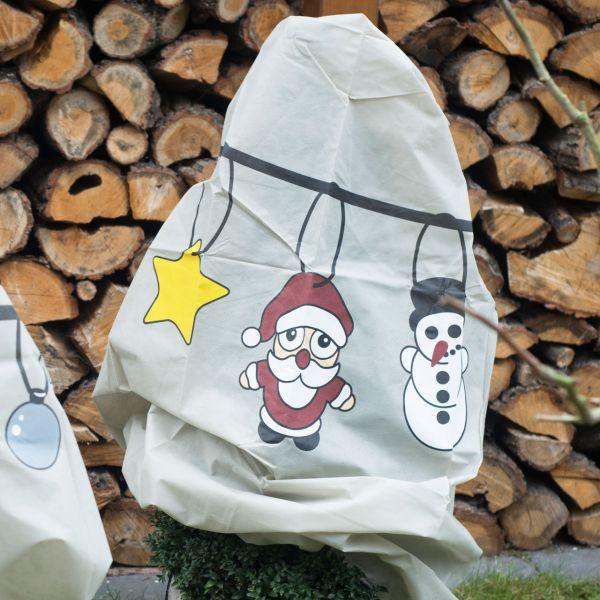 Vlieshaube Winterschutz Weihnachts-Girlande taupe