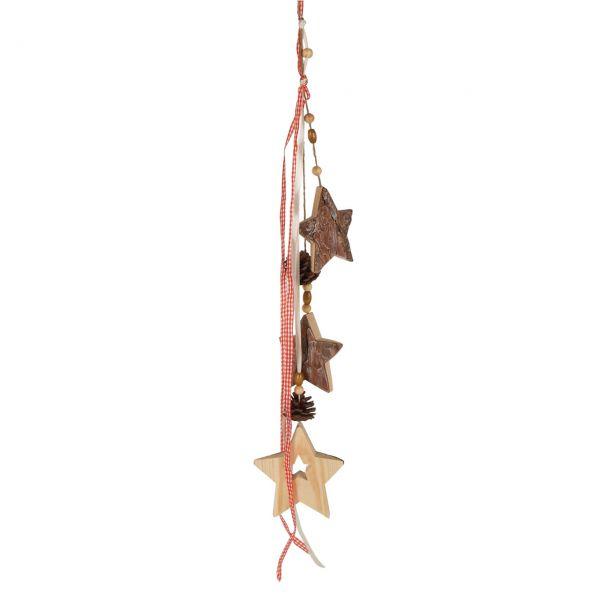 Deko-Hänger Holz-Sterne und Schleifenband natur-rot
