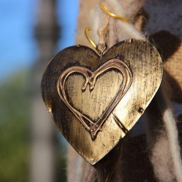 Deko-Anhänger Herz Alexa, Messing