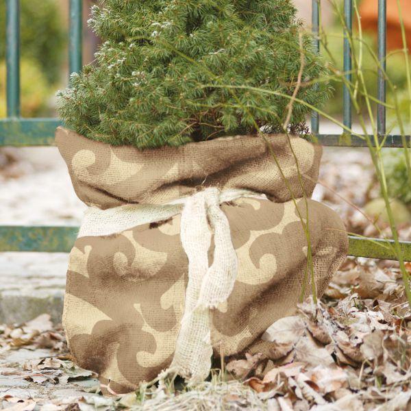 Jutesack als Winterschutz Ornament-Design natur-beige