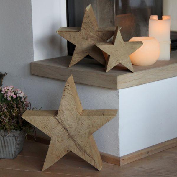 Holzstern 11 cm stark, Holzfigur Akazienholz