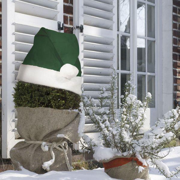 Weihnachtsmütze für Pflanzen Deko grün