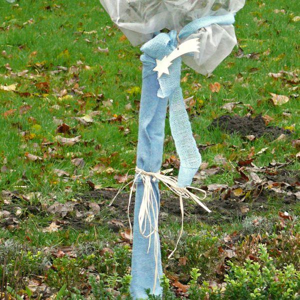 Winterschutzmatte Stammschutz Jute-Filz eisblau