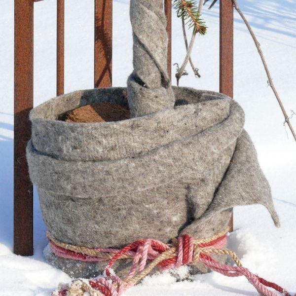 Winterschutzmatte aus Schafwolle, grau-meliert