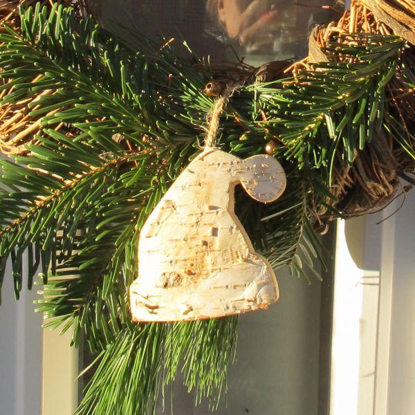 Holzanhänger Deko-Anhänger Holz Weihnachtsmütze natur