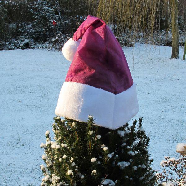 Weihnachtsmütze für Pflanzen Deko waldbeere