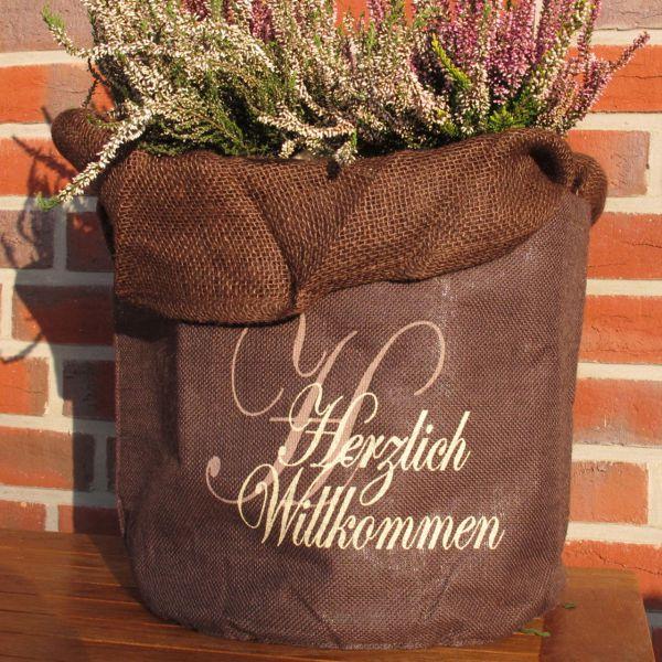 Jute-übertopf Kübelpflanzen Herzlich Willkommen braun