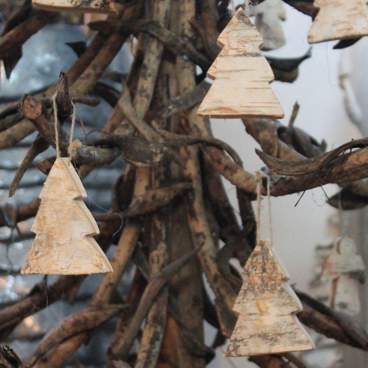 Birkenholz anhänger, winterdekoration tannenbaum
