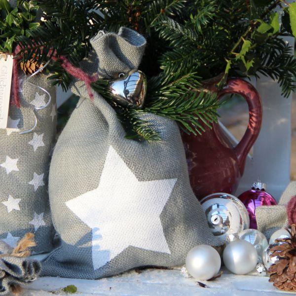 Geschenk-Jutesäckchen Stern, grau/weiß