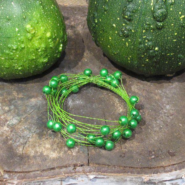 Basteldraht mit Perlen grün