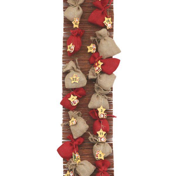 Adventskalender Jutesäckchen auf Weide Weihnachtsmann natur-rot