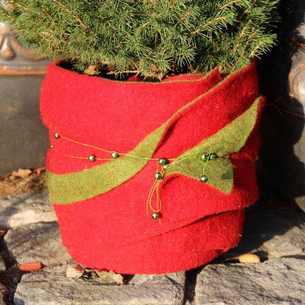Woll-Filzband extrabreit zweifarbig rot-grün