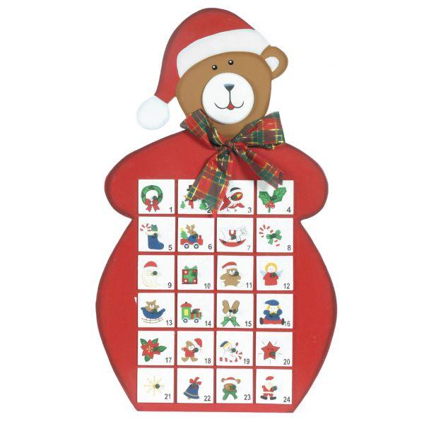 Adventskalender Bär, 24 Schubladen, Holz rot