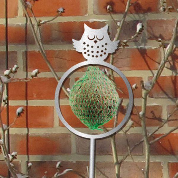Meisenknödelhalterung Eule, Gartenstecker