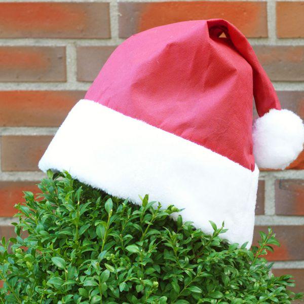 Weihnachtsmütze für Pflanzen Deko rot