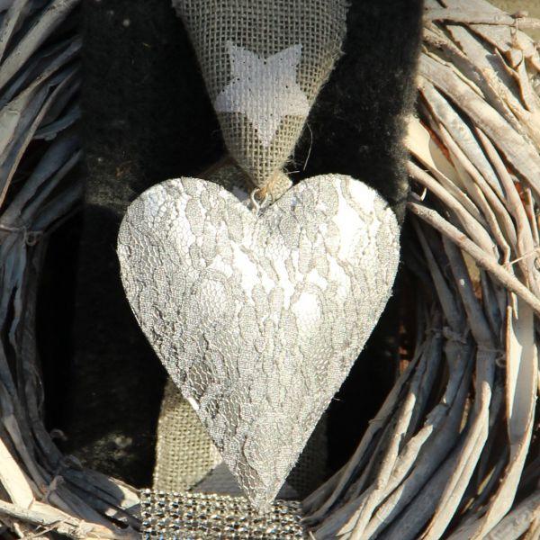 Deko-Anhänger Herz Diva, silber