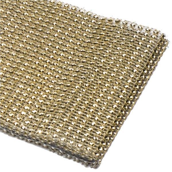 Glitzerband runde Strass-Steine gold-glitzernd