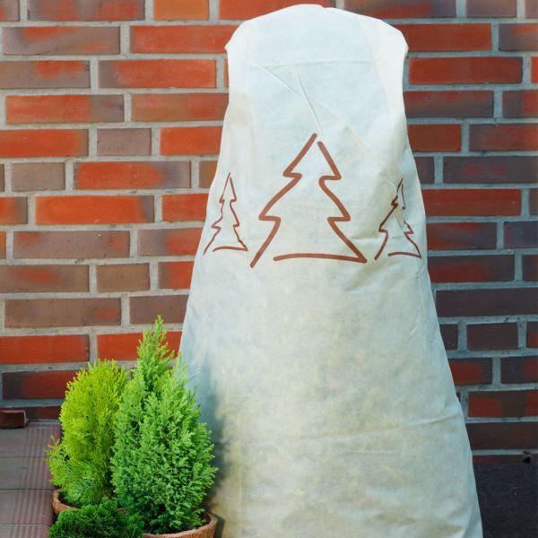 Vlieshaube Winterschutz Tannenbäume beige-braun