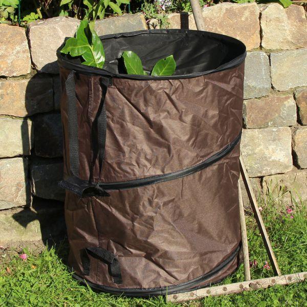 PopUp Gartenabfall-Tasche, stabile Auführung, taupe