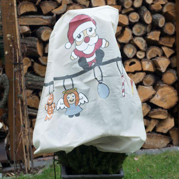 Winterschutz Vlieshaube, Weihnachts-Girlande Santa, taupe