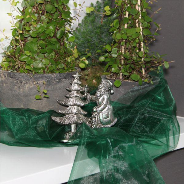 Dekostoff Organza dunkel-grün
